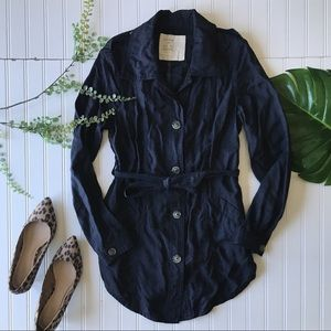 Free people trench coat navy blue button up jacket